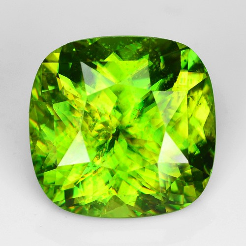 ~SPARKLING~ 6.51 Cts Natural Olive Green Sphene Cushion Russia