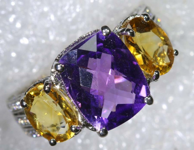 24.7CTS AMETHYST CITRINE AND QUARTZ SILVER RING SG-2539