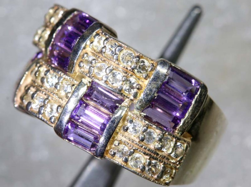 33.6CTS AMETHYST AND QUARTZ SILVER RING SG-2551
