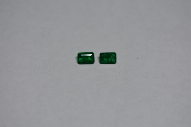 0.98 carat  Strong green Emerald pair