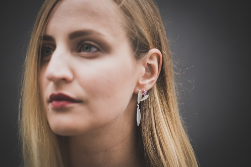 Beautiful Spinel and Silver Handcrafted Earrings