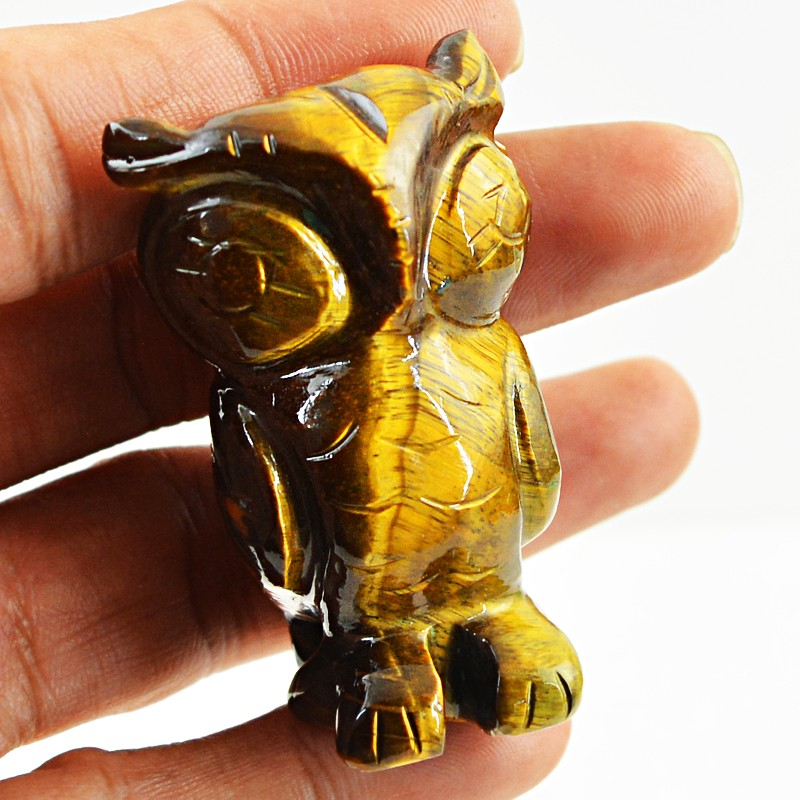 Golden Tiger eye 261 cts Handcarved Owl