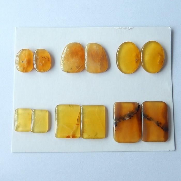 Free Shipping !!!85ct Sell 6 Pairs Natural Yellow Opal Cabochon Pair(171018