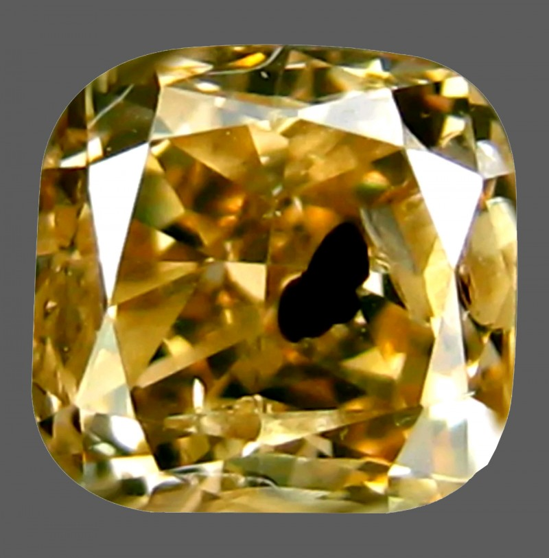 0.39 Ct Natural PGTL Certified Cushion Shape Greenish Brown Diamond