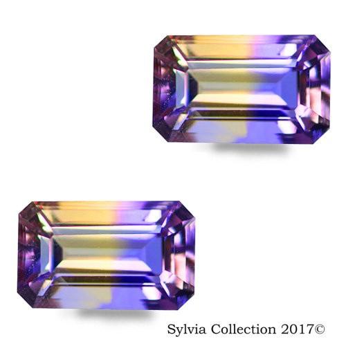 3.45 Ct Natural Rarest Bi Color Octagon Shape Ametrine Pair