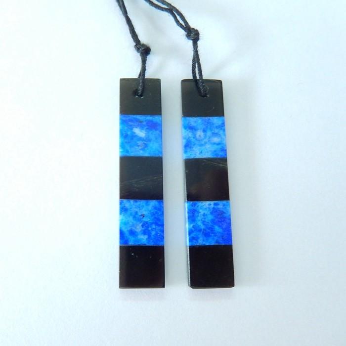 21.5ct Natural Obsidian,Lapis Lazuli Intarsia Earring Beads(17102104)