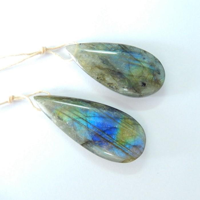 Sell 2PCS Natural Labradorite Teardrop Necklace Pendant Beads(17102105)
