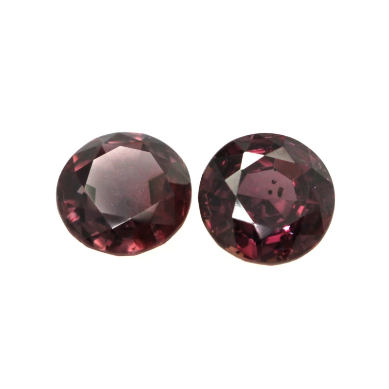 0.74cts  Matching Pair Round Natural Purplish Sapphires 2pcs