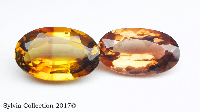 6.25 Ct Natural Yellowish Reddish Pair of Transparent Tourmaline gemstone