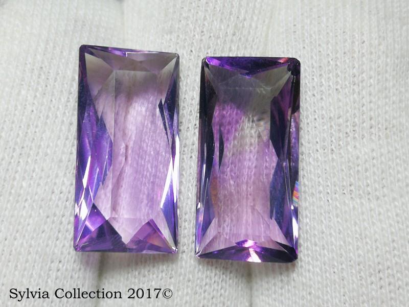 20 Ct Natural Calibrated Size Purplish Transparent Amethyst Pair