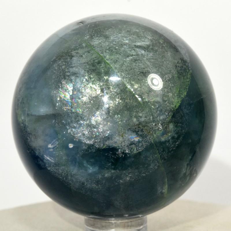 "2.1"" Rainbow Blue Green Fluorite Crystal Sphere Ball China STBFS-CA226"