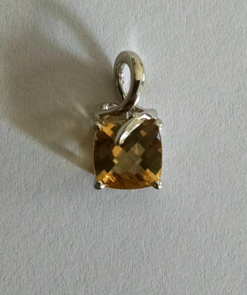 Checkerboard Citrine sterling silver pendant