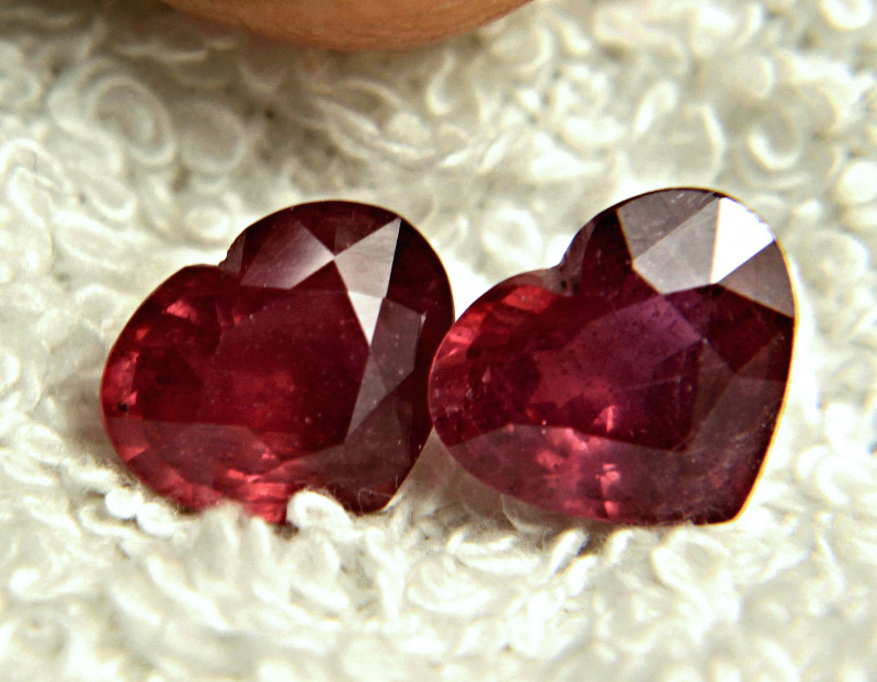 7.65 Carat Matched Ruby Hearts - Superb