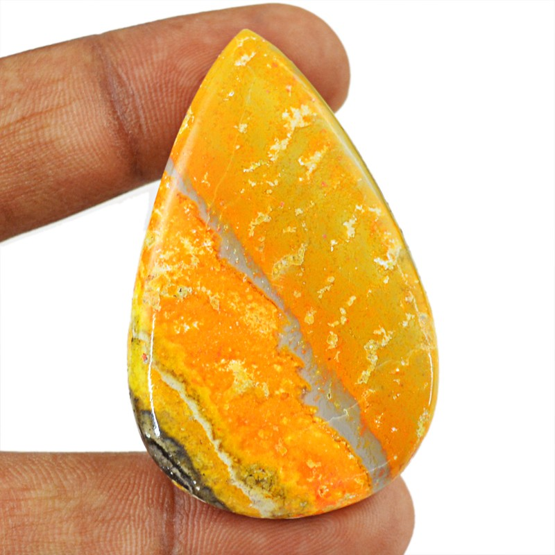 Genuine 62.00 Cts Pear Shape Bumble Bee Jasper Cab