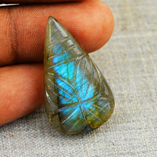 Genuine 20.50 Cts Pear Shape Carved Blue Flash Labradorite Cab