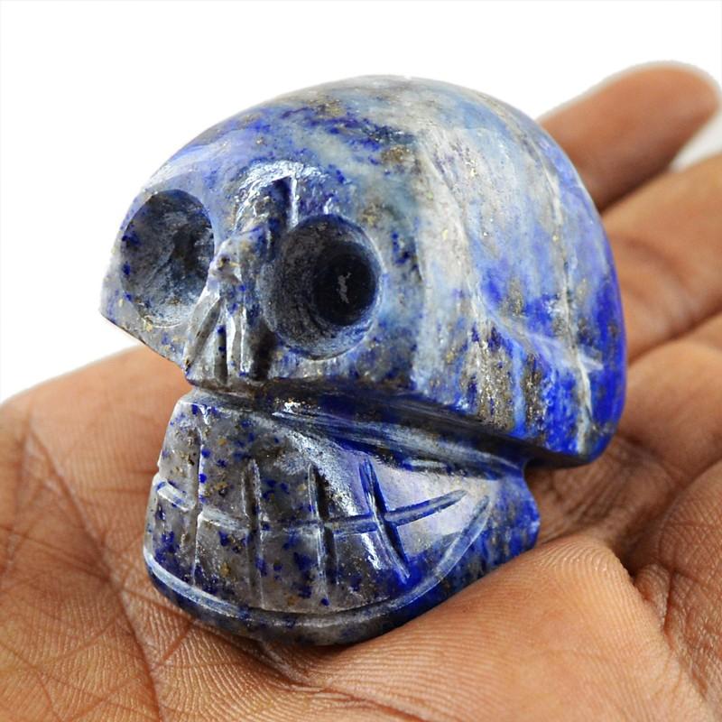 Genuine 340.50 Cts Hand Carved Blue Lapis Lazuli Skull