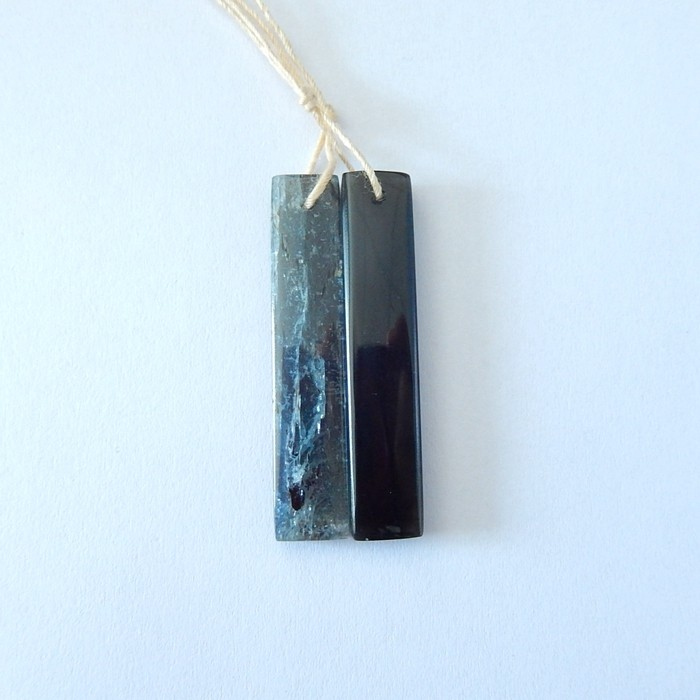 37ct Natural Blue Kyanite,Obsidian  Intarsia Earring Beads(17110309)