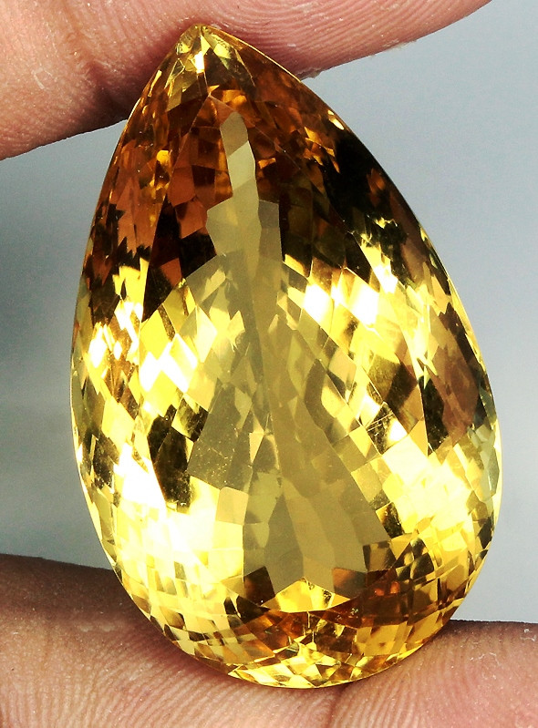 Clean Gem! 65.93ct. Pear 100% Natural Unheated Top Yellow Golden Citrine Br