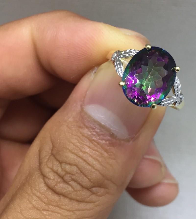 Superb $875 Nat 4.0ct. Mystic Topaz &Diamond Ring 10K Sol Ylw Gold
