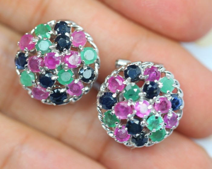 43.06Ct Sterling Silver 925 Natural Emerald Ruby Sapphire Earrings V95