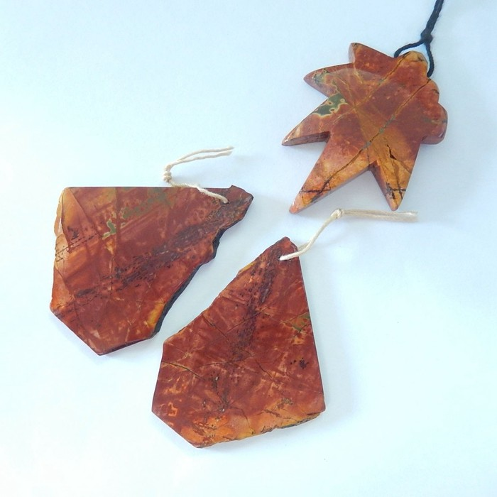 Jewelry Set,Natural Carved Leaf Shape Muti Color Picasso Jasper Necklace Pe