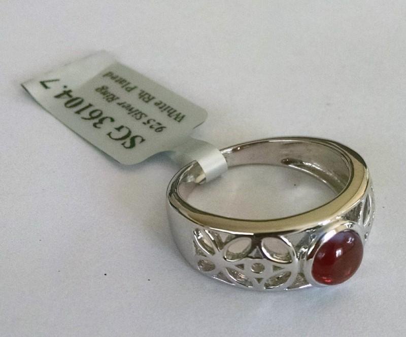 Garnet filigree 925 Sterling silver ring #104