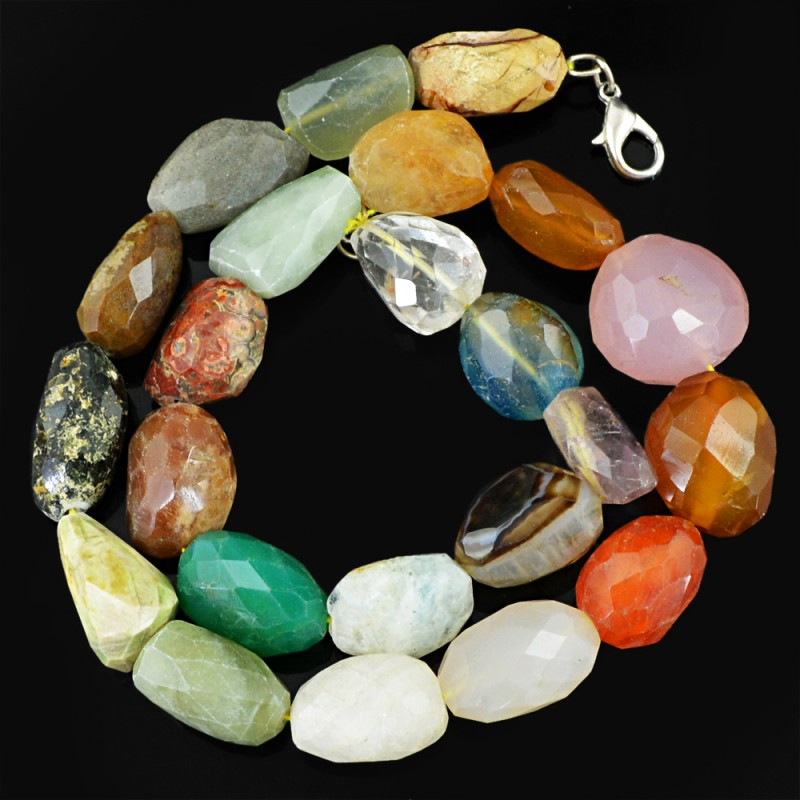 Genuine 657.50 Cts Faceted Multicolor Multi Gemstone Beads Necklace - Wow