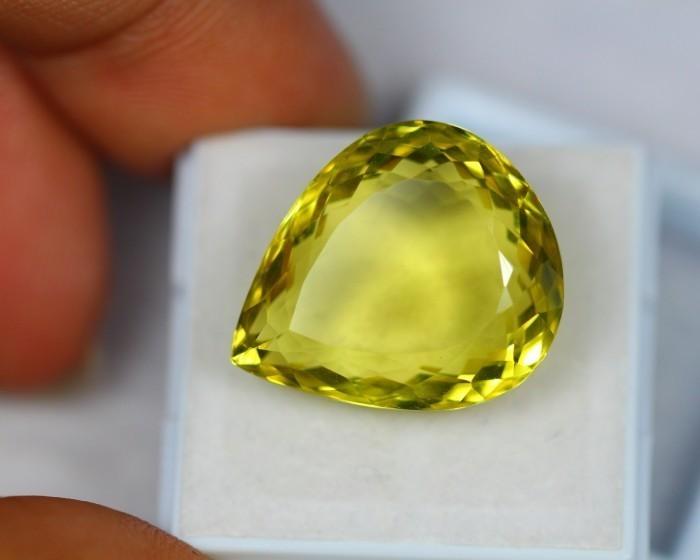 08b880dc4ec3 24.20ct Natural Lemon Quartz Pear Cut Lot LZB14