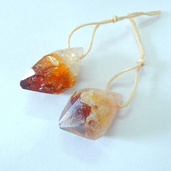 Citrine-Birthstone Of November,32.5ct Natural Nugget Citrine Earrings Match