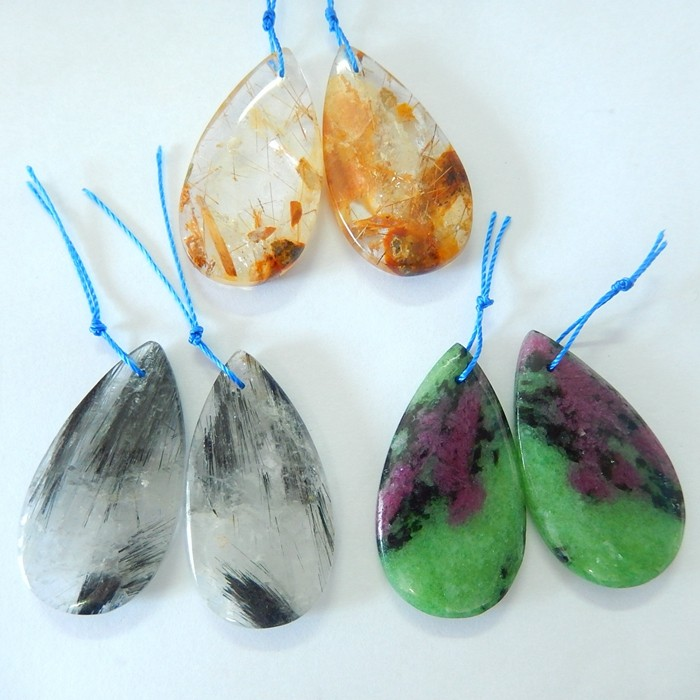 Specialoffer Sell 3 Pairs Pear Shape Earrings--ruby and zoisite,gold rutila
