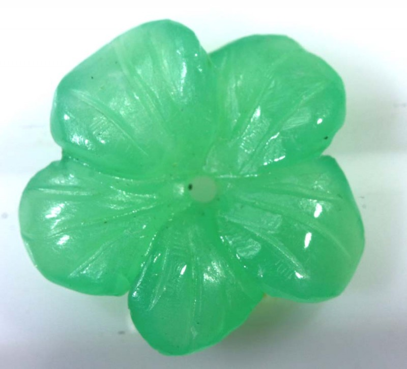 2.9CTS CHRYSOPRASE FLOWER CARVING LG-1878