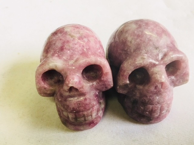Pair  pink purple Jasper Gemstone  Skulls  PPP 1689