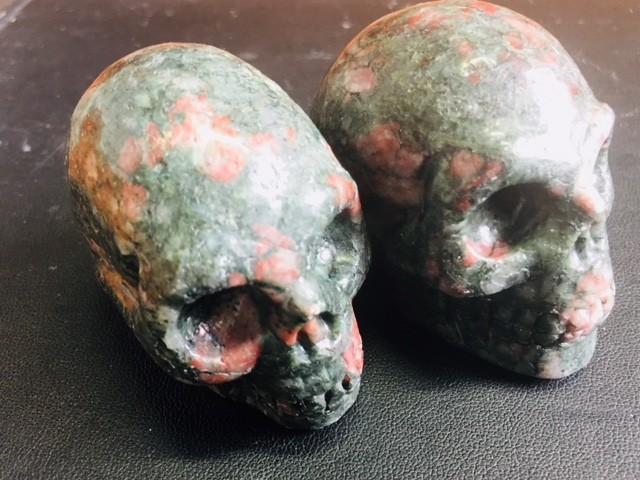 Pair Jasper Gemstone  Skulls  PPP 1691