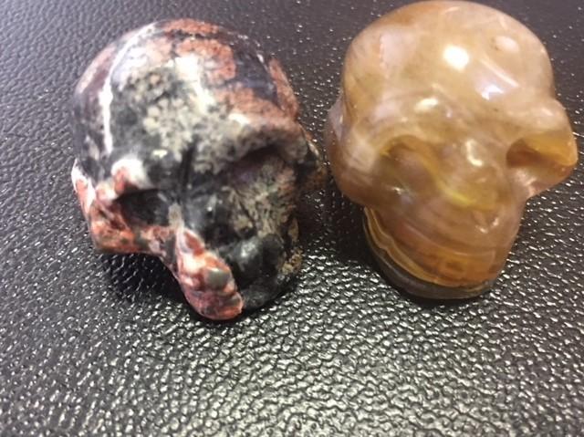 Pair scary  ugly jasper  Gemstone  Skulls  PPP 1725