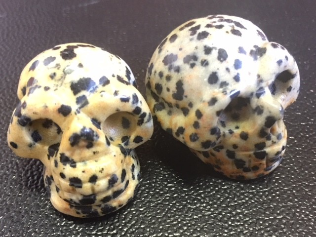 Pair Dalmation jasper  Gemstone  Skull  PPP 1726