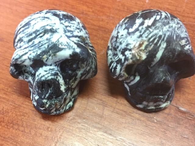 Pair black white veined  jasper  Gemstone  Skull  PPP 1729