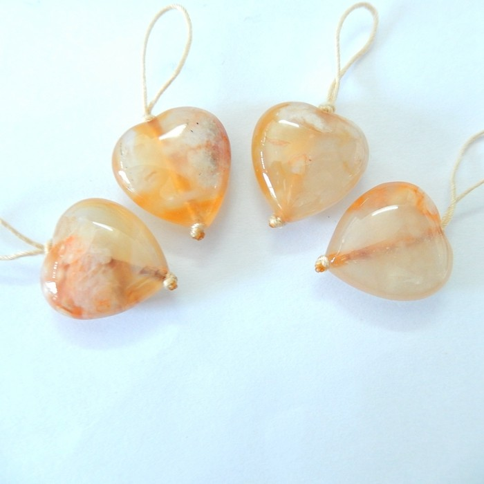 Sell 2pairs Cherry Blossom Agate Heart Earrings For Women(17120702)