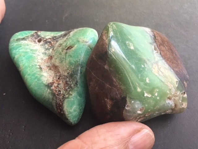TWO Australian jade ,Chrysoprase ppp 1771
