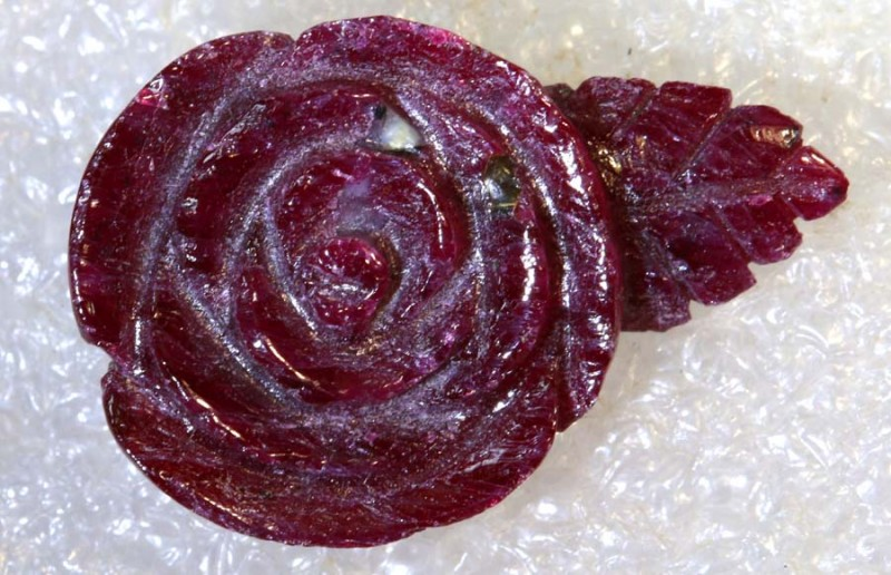 17.60 CTS RED ROSE RUBY FLOWER CARVING LT-828