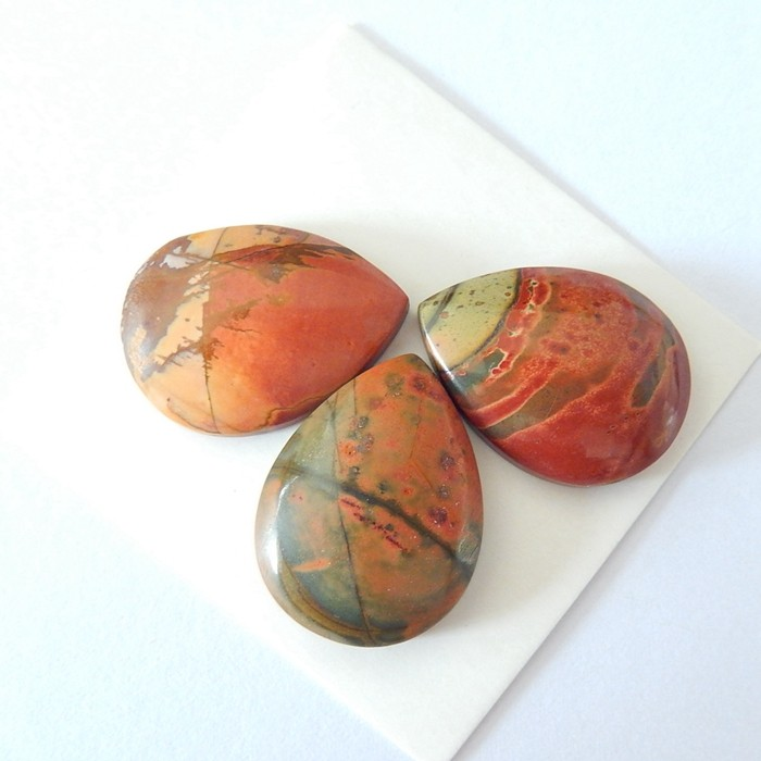 Sell 3pcs Natural Muti Color Picasso Jasper Pear Shape Cabochons(17122509)