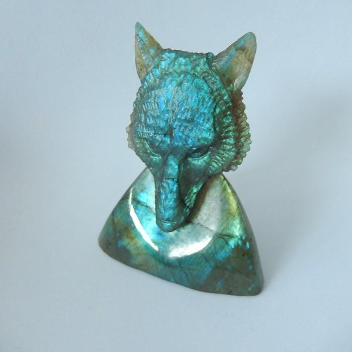 Wolf Head Decoration,359ct Blue Labradorite Handcarved Wolf Head Cabochon,F