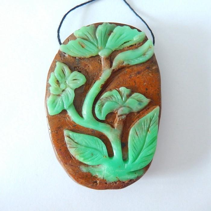 New Arrival,Vivid Flower Carving,Natural Chrysoprase Handcarved Flower Neck