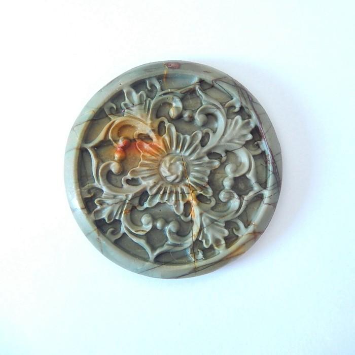 Vintage Flower Carving,Natural Muti Color Picasso Jasper Carved Flower Roun