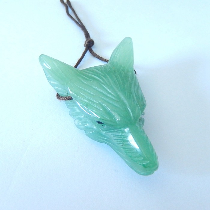 60ct Natural Green Aventurine Handcarved Wolf Head Necklace Pendant For Jew