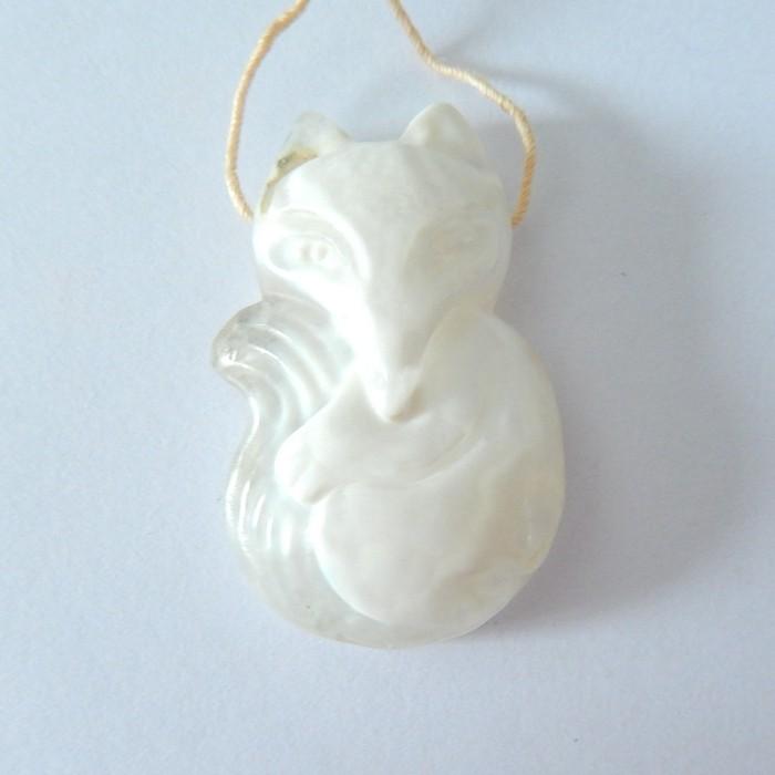 Fox Pendant,Natural Mushroom Jasper Carved Fox Necklace Pendant Bead(180106