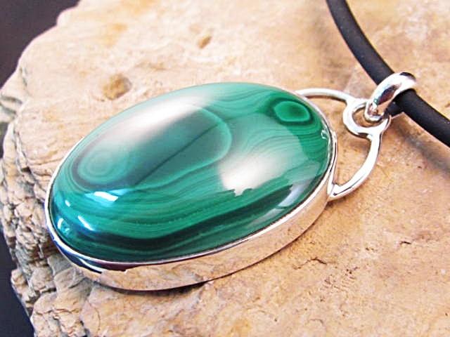 Malachite Sterling Silver pendant with fine silver bezel