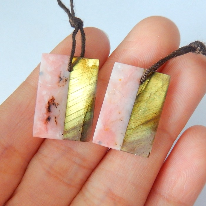 16ct Natural Flashy Labradorite and Pink Opal Intarsia Earrings(18010706)