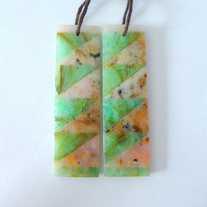 New Design,Natural Chrysocolla AND Pink Opal Intarsia Earrings,2 Kinds Of S