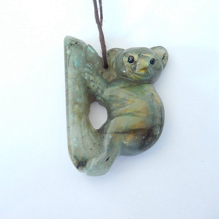 Lovely Koala Pendant,Sell Natural Labradorite Handcarved Animal Koala Lovel