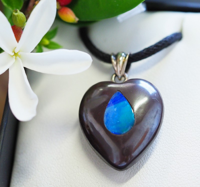 Lovers opal inlay Heart Pendant SU 21